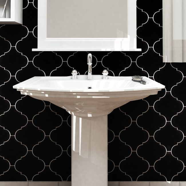 Somertile 8x8 inch morocco provenzale black porcelain for Bathroom ideas 8x8