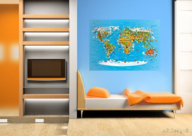 Stunning kids' Earth map photo mural