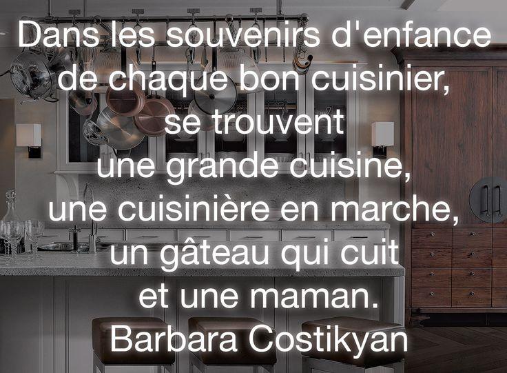 """""""Dans les souvenirs d'enfance de chaque bon(ne) cuisinier(ère), se trouvent une grande cuisine, une cuisinière en marche, un gâteau qui cuit et une maman."""" Barbara Costikyan / Critique culinaire au New York Magazine #SieMaticInspiration #citationdujour"""