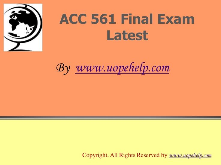 Confused and depressed about which tutorials to choose? Here is the tip. Try us and we guarantee that you will not have to look any further. We provide various homework help that you will find easy to understand. http://www.UopeHelp.com/ also provide ACC 561 Final Exam Latest UOP Course Assignments, Entire course questions with answers and law, finance, economics and accounting homework help, discussion questions, Homework Assignment etc. Join us to be straight 'A' student.