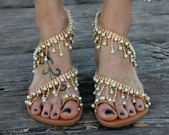 "Valentines Day Gift, Greek Sandals, Luxurious Sandals, Bridal Sandals, Wedding Sandals, ""Cleopatra"""