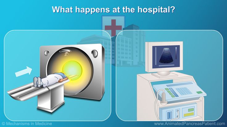Sometimes when you are at the hospital you might have to go into a room with a large machine.    There is a machine that can see inside your body to show your doctor if your pancreas is swollen or if it has a lot of liquid around it. slide show: helping kids and teens understand acute pancreatitis.