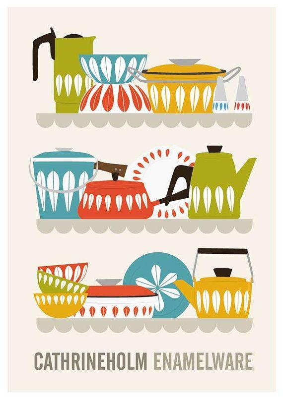 Cathrineholm kitchen decor mid century poster retro by handz