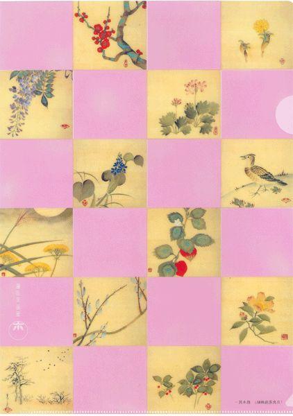 【メール便可】 A4クリアファイル 〈月次花鳥画帖〉 鈴木其一筆