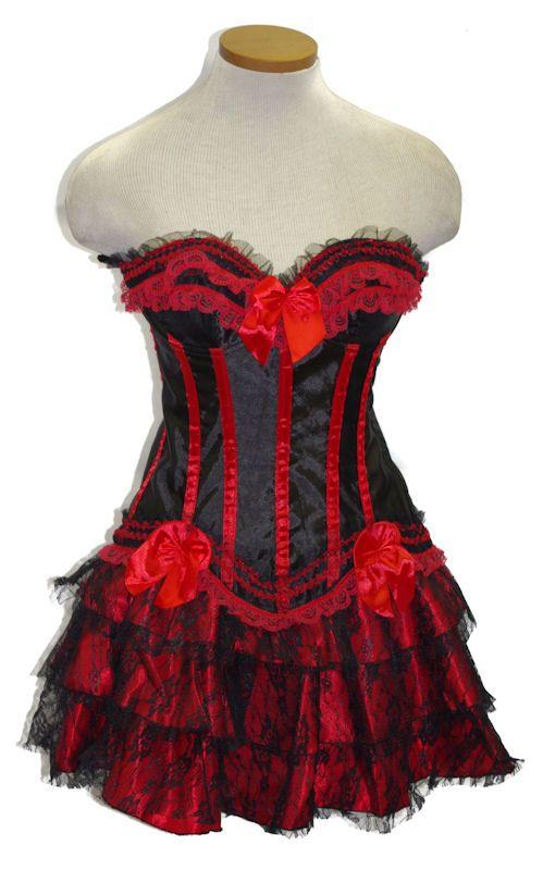 Black and Red Morticia Corset