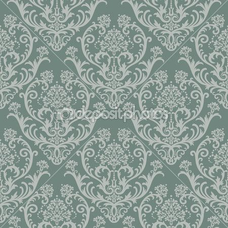 naadloze groene floral damast behang — Stockillustratie #4551683