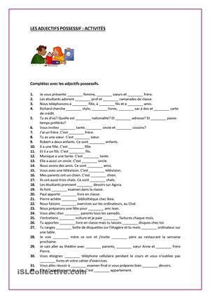 ADJECTIFS POSSESIFS fiche d'exercices - Fiches pédagogiques gratuites FLE