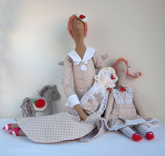 Fabric Doll Family Angel, Gift, Handmade Dolls beige white polka dots dress, Lovely home, nursery decor, cute textile dolls, Christmas gift