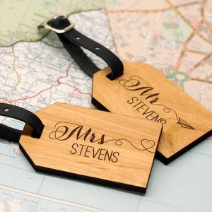 Personalised Wooden Honeymoon Luggage Tags -  Wedding gifts that will leave the new couple head over heels in love all over again. Thoughtful and personalised presents for the newlyweds.