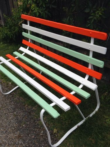 Vintage 1950 S Retro Timber Slatted Bench Seat Painted Outdoor Furniture Timber Slats