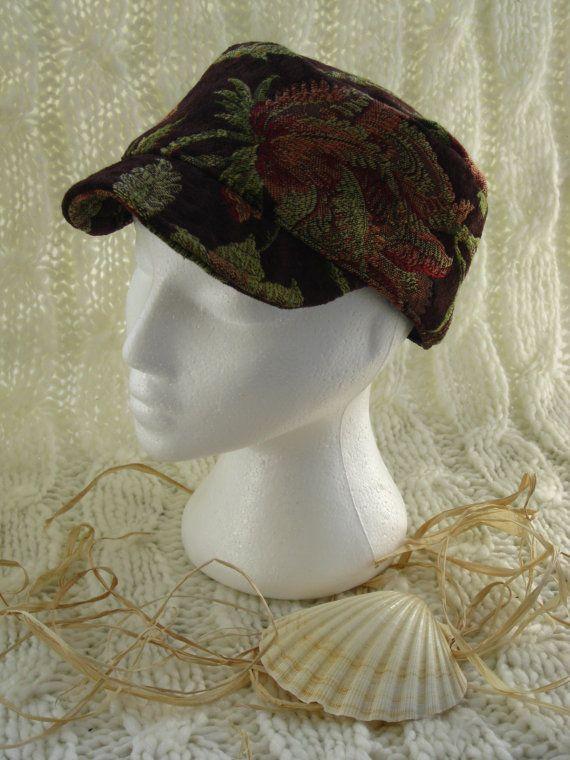 Chenille floral tapestry Ladies Hat in by BrambleWoodANDivy