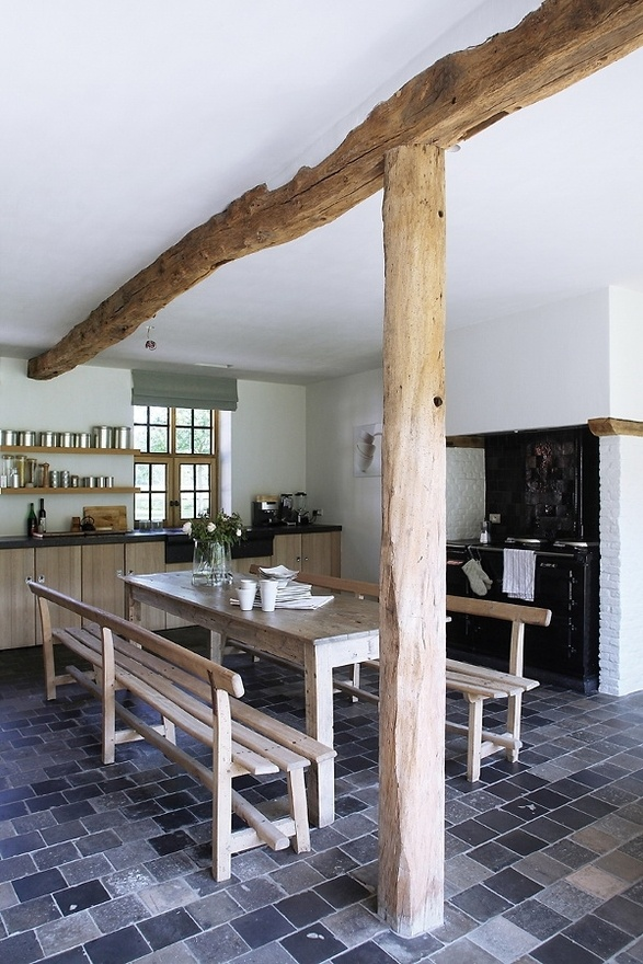 Wooden beams in farm house