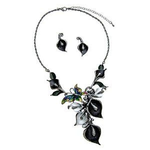 Black Flower Statement Necklace and Earring Set with Sparkling Rhinestones #krissylovesbling