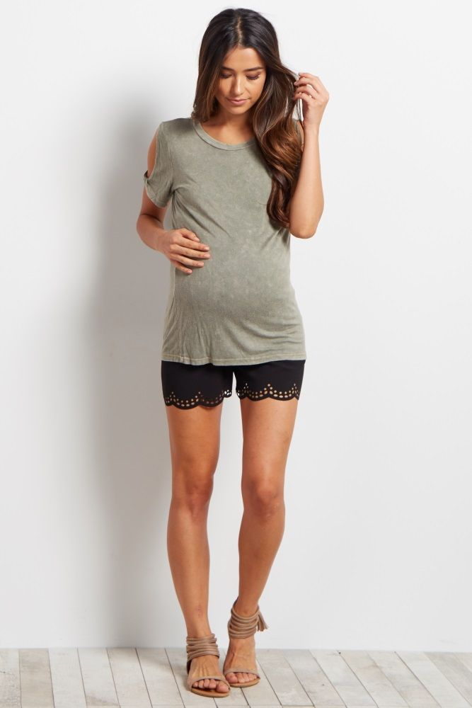 These lightweight maternity shorts will be your new favorite staple this season. A pretty lace border gives you a feminine detail, while an elastic waistband easily accommodates your growing belly. Simply style these shorts with a maternity cami or printed short sleeve top for a complete ensemble.