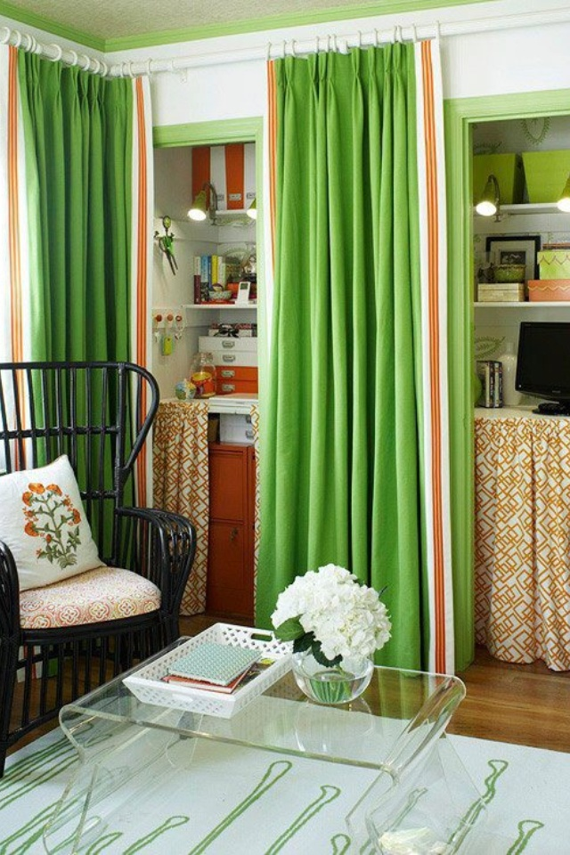 Cover Open Shelves: Curtains cover shelving Diy curtain covers for