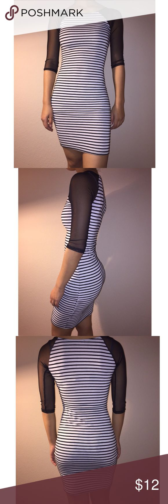 Striped Bodycon Dress Horizontal b&w striped dress.. bodycon/fitted with mesh sleeves.. very comfortable, great for a night out! Dresses