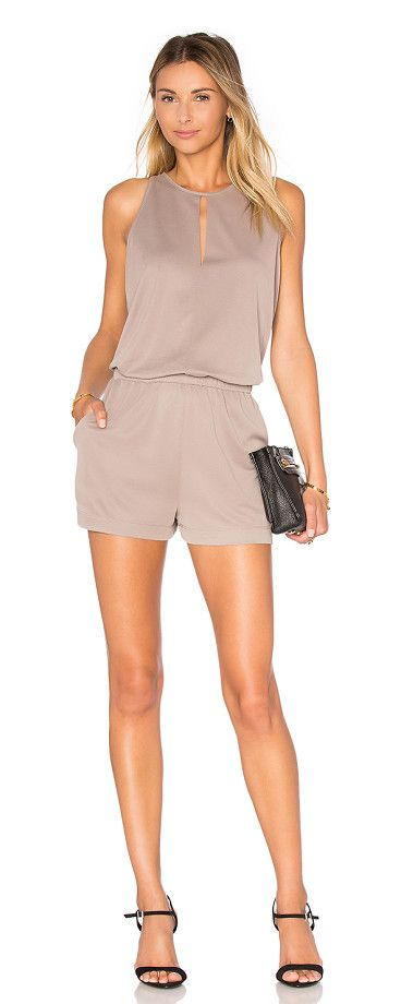 Sleeveless Romper by BCBGMAXAZRIA. 71% modal 29% poly. Keyhole front. Elasticized banded waist. Side slant pockets. Surplice back. Body measures approx ...