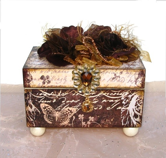 Trinket Jewelry Box Winter Forest Ivory and Brown