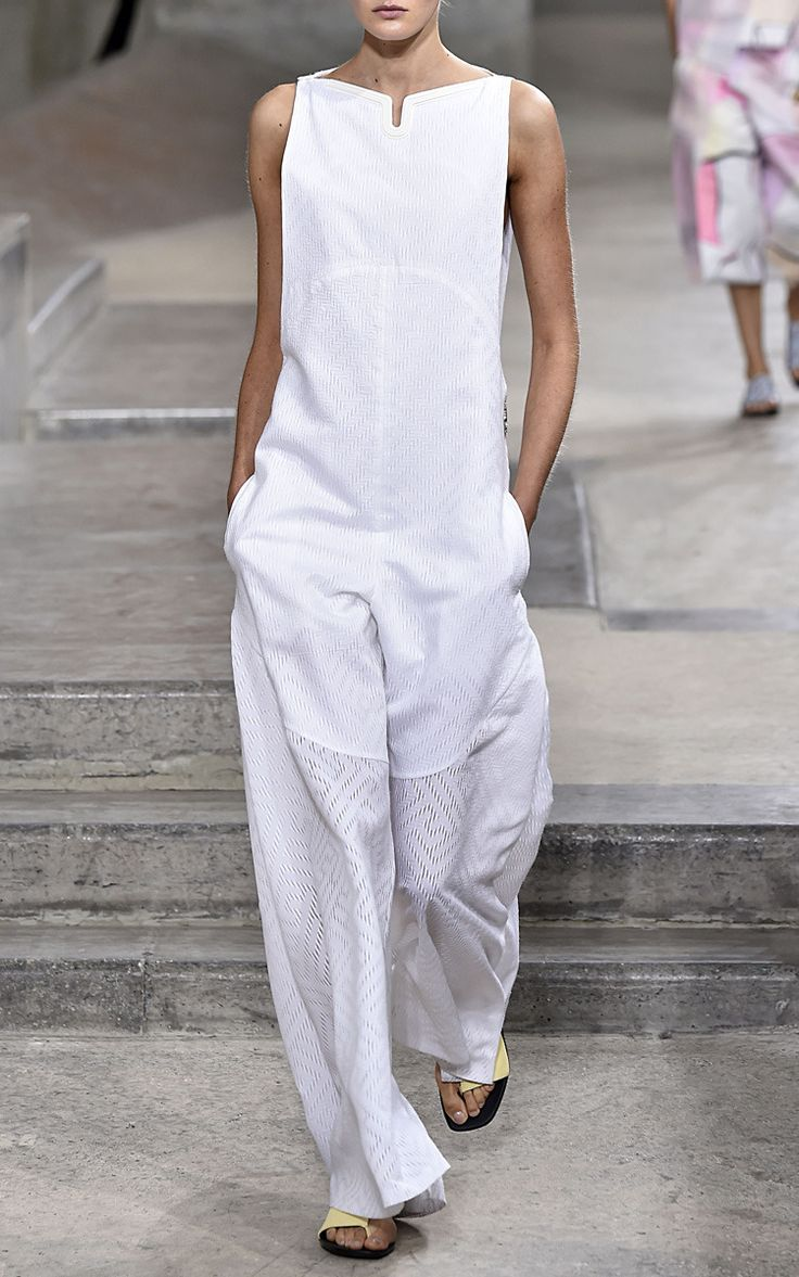 White Maze Poplin Jacquard Jumpsuit by Kenzo for Preorder on Moda Operandi