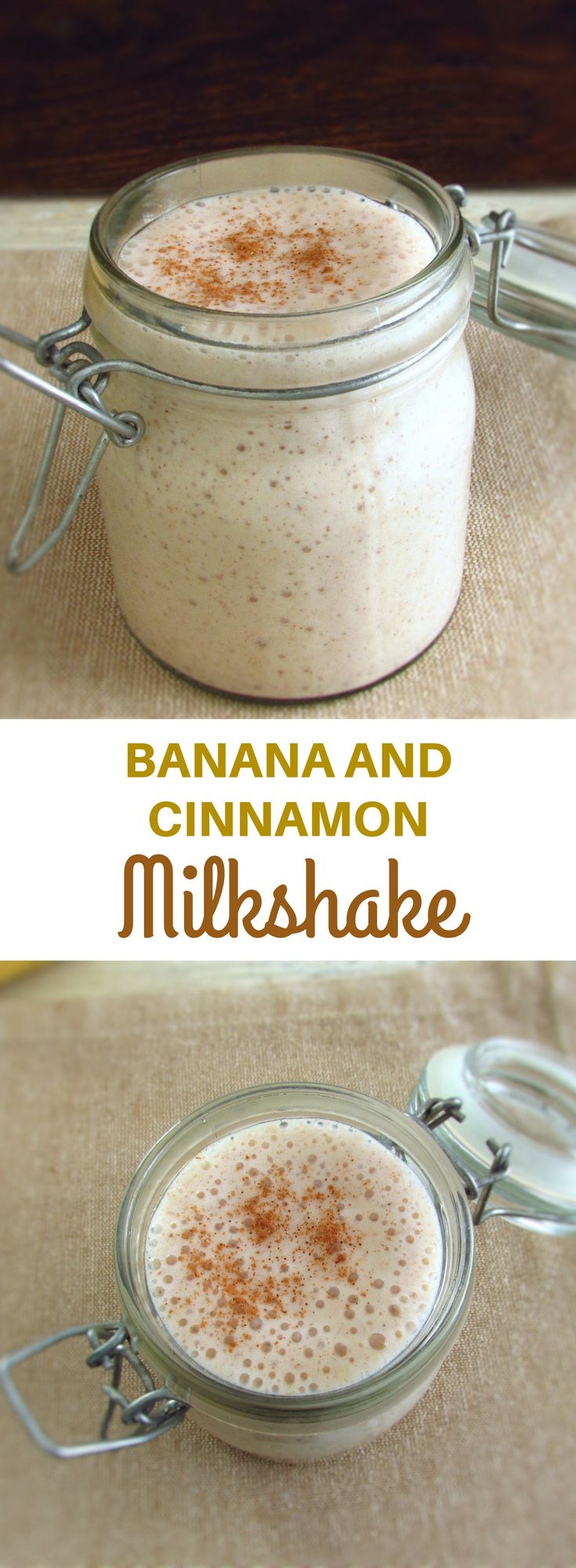 Banana and cinnamon milkshake   Food From Portugal. After exercise, want to recharge your energy levels and drink a tasty drink? Prepare this banana and cinnamon milkshake, it's the perfect solution! #drink #milkshake #banana #recipe