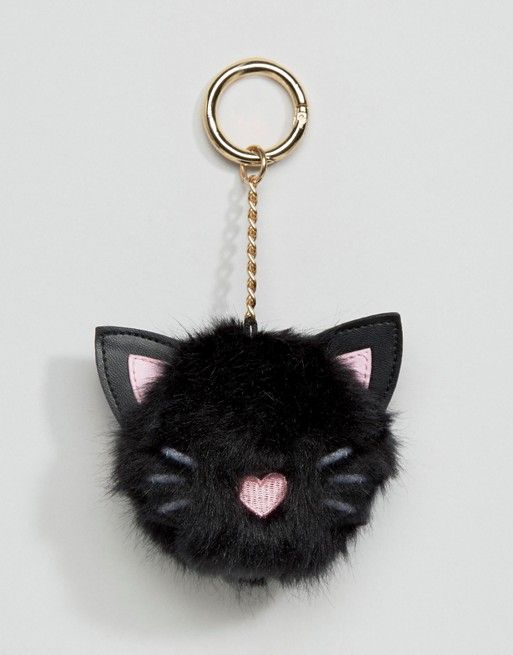 ASOS | ASOS Oversized Cat Pom Bag Charm Key Ring