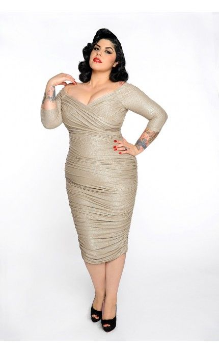 Monica Dress in Champagne and Silver Lurex Knit - Plus Size | Pinup Girl Clothing