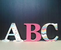 Nursery Decor in retro colours, freestanding wooden letters with decoupage finish, 18mm thick mdf wood stands 15cm high.