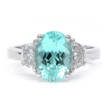 I had the opportunity to try on this beautiful Paraiba Tourmaline ring.  The color of the stone is unbelievable; it appears to light up from underneath.  So gorgeous!