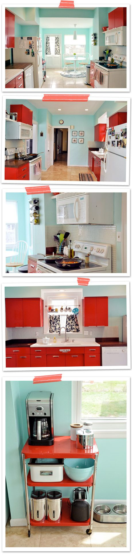 I love this color scheme for a kitchen though, I would do a majority of slate gray with pops of turquoise and red-orange.