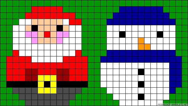 Père Noël et Bonhomme de neige simples  Christmas perler bead patterns