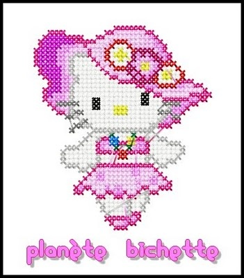 free cross stitch pink hello kitty