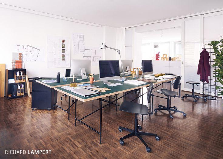 table frame ›Eiermann 1‹ by Egon Eiermann, work chair ›Mr. Square‹ by Peter Horn, conatainer ›Stak‹ by Peter Frey #office #contract #eiermann #classics #desk #richardlampert