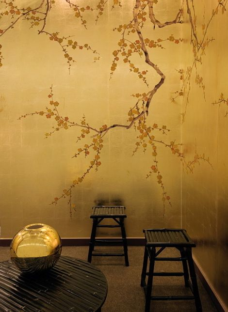 Asian inspired mural style wallpaper