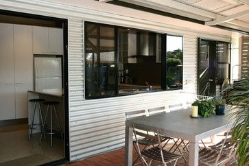 interesting mix of corrugated metal siding and brick patio. McNeil - contemporary - patio - brisbane - Lee Hardcastle