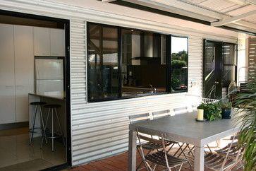 interesting mix of corrugated metal siding and brick patio. McNeil - contemporary - patio - brisbane - Lee Hardcastle
