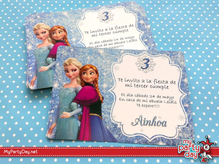 Tarjetas de invitación para cumpleaños de Frozen / Invitation cards for Frozen birthday´s party