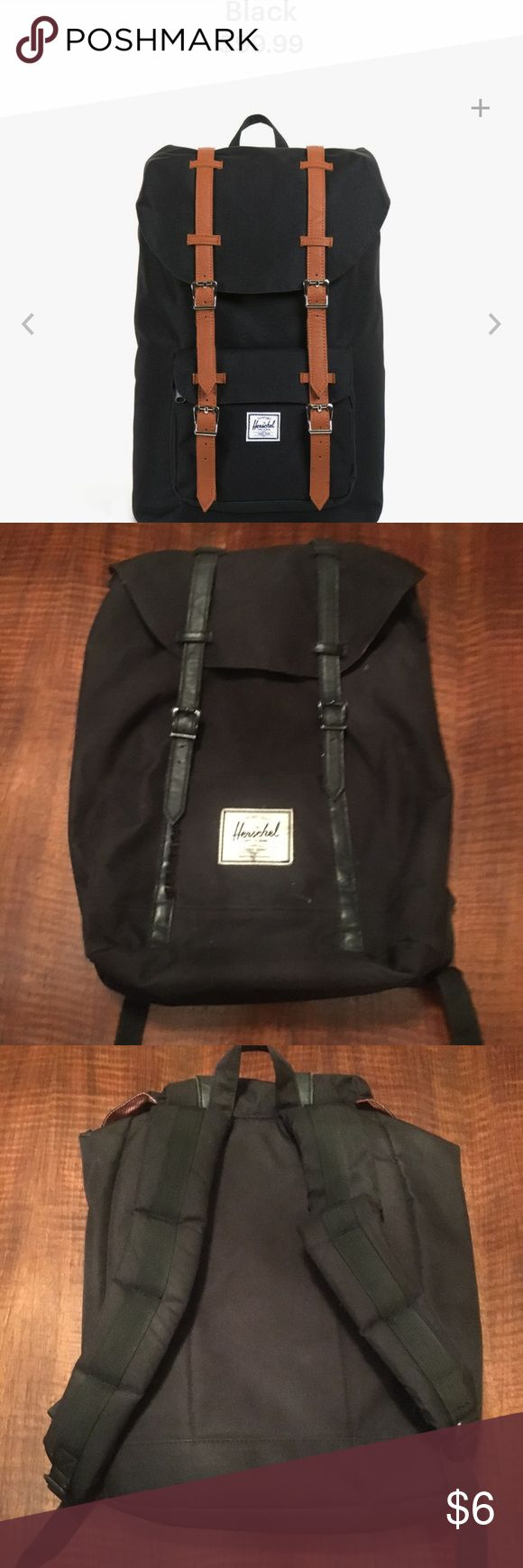 Black Herschel backpack with black straps This backpack is in a used condition and has a rip in the front pocket that needs to be sewn up. This is why the price is so low! This is an amazing backpack with an extremely protective laptop case. If you are up for fixing the front pocket this is an amazing deal 😊 *the straps are black not brown like website photo* Herschel Supply Company Bags Backpacks