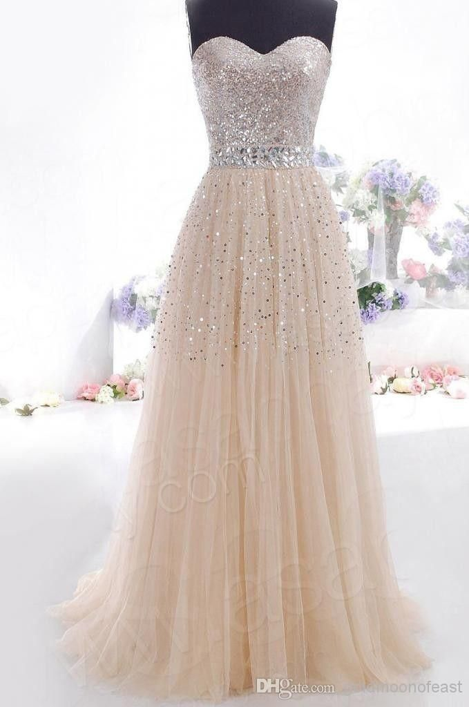 Wholesale Cocktail Dress - Buy Champagne Sweetheart Sequins Tulle Bridesmaid Long Wedding Gown Prom Party Formal Evening Cocktail Dress, $124.4   DHgate