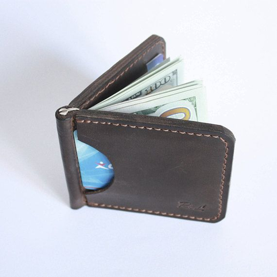 """money clip wallet, money clip, card holder, clip wallet, mens money clip, front pocket wallet, best money clip, leather, money wallet, bifold wallet, cool money clips, personalized, engraved money clip Hand-crafted money clip made from """"crazy horse"""" distressed leather, that conquered the whole world with its ingenuousness, longevity and vintage effect. Full grain leather comes from the top layer of the hide which has all of the grain, therefore, full grain. The natural surface of full grain…"""