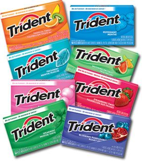 Trident: if you wear or planning on getting metal braces you can still chew this gum. it doesn't stick like others and is good for your teeth.