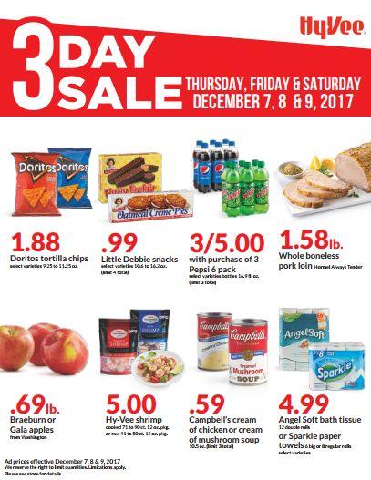 Hy-Vee 3 days sale Dec 07 - 09, 2017