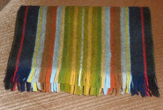 VINTAGE WOOL SCARF / Multi Coloured Striped Wool Scarf by BYGONERA