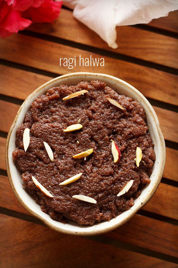 ragi halwa recipe - sweet dessert made from ragi flour, ghee, sugar and milk.  #ragi #halwa