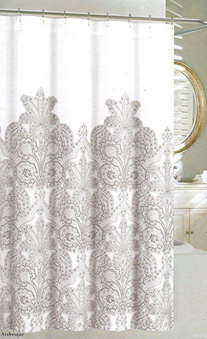 Amazon.com: Николь Миллер дома ткань занавес ливня серый цветочные кружева медальоны печати 72 на 72-дюймовый хлопок мягкий пепельно-серый Белый: дом и кухня