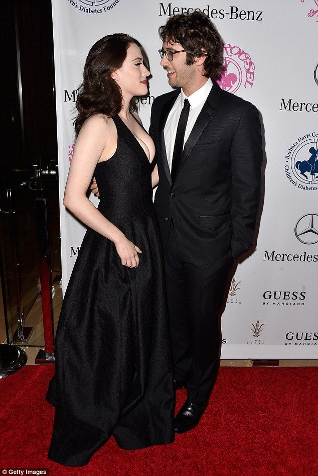 Kat Dennings cosies up to Josh Groban in plunging dress at ball #dailymail