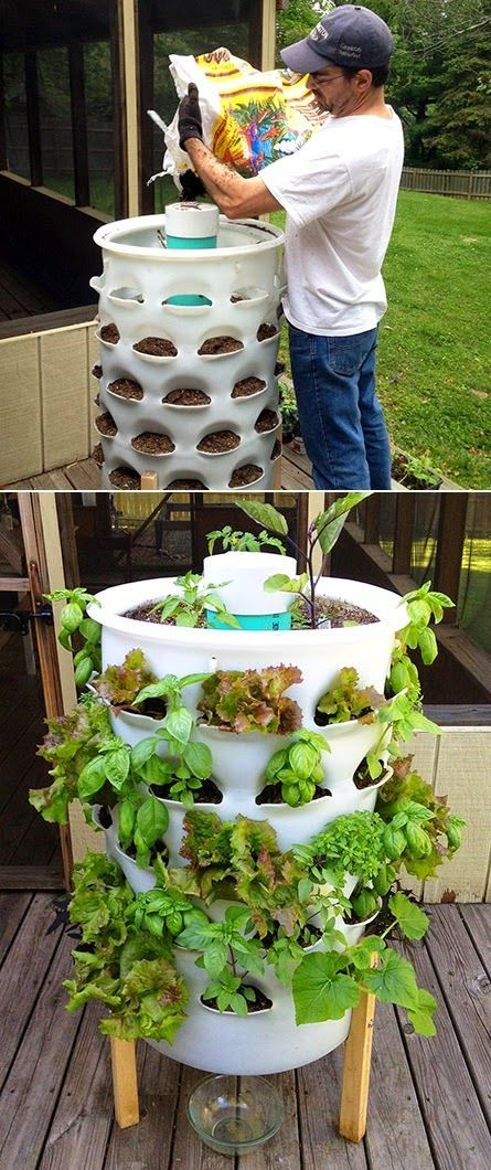 The Garden Tower grows plants vertically, enabling you to grow 50 plants in a very small space -- the ultimate square foot garden with integrated composting! Most container gardens only allow planting