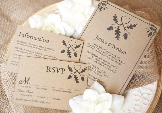 Printable Wedding Invitation Template Rustic by VineWedding
