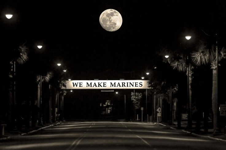 Moon over Marine Corps Recruit Depot Parris Island SC.  They call us WM!  Woman Marines!  Been there, done that!  Semper Fi!