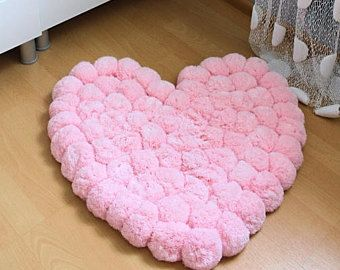 Pom Pom Rug, Pompom Rug, Heart Rug, Teen Room Decor, Nursery Rug, Girly Room Decor, Baby Room Rug, Soft Rug, Pink Rug, Washable Rug