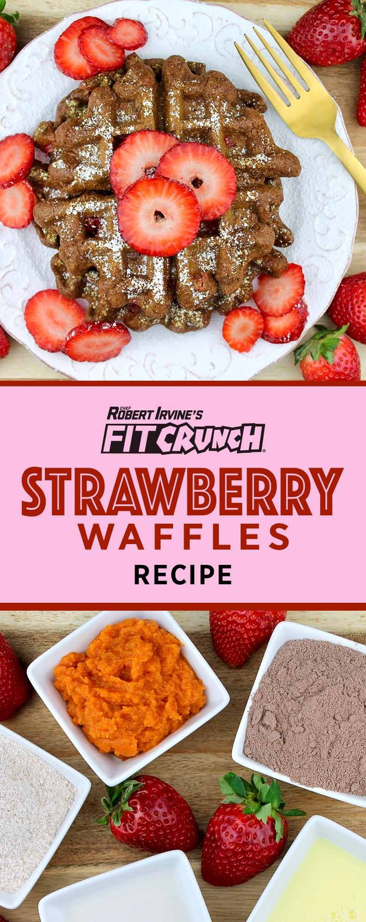 FITCRUNCH Chocolate Strawberry Waffle Indulge in the romantic combination of rich chocolate and fresh strawberries with this delicious waffle recipe. It's one thing to make breakfast for your loved one, but it's another thing to put a healthy twist on the breakfast you serve them to really show them you care. Waffles are traditionally made …